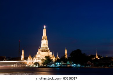 twilight view of temple in thailand