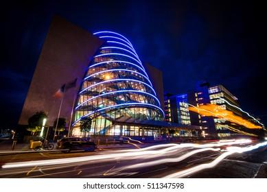Twilight view at traffic on street in Dublin. Ireland