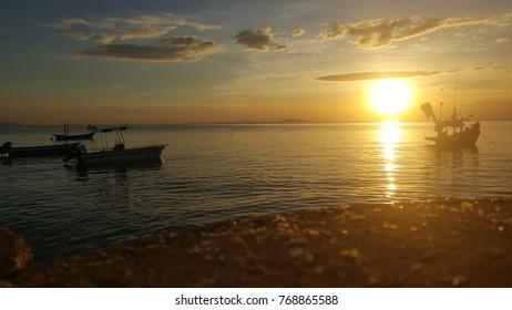 Twilight at the won beach bang saen