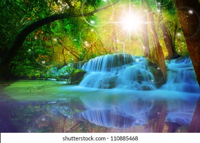 Twilight Zone waterfalls fantasy,Soapsuds vivid Light color think for God