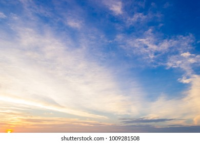 Twilight,Blue sky and sunset cloud with colorful and amazing nature background in the evening,majestic dusk sky cloud and sunlight,wonderful cloud fluffy,idyllic peaceful on sunset.