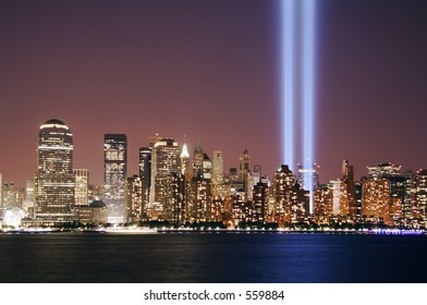 Twin beams of light over lower Manhattan on 9/11/05