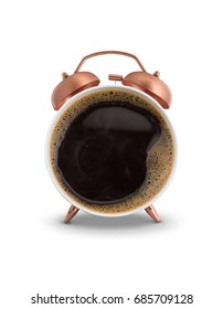 Twin bell alarm clock with coffee mug white background