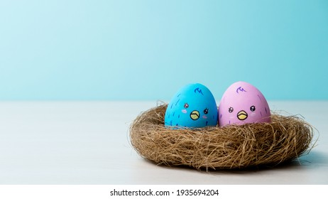 Twin birth. Conceptual banner. New life. Baby shower invitation card. Two happy pink blue color painted egg with cute chicken face pattern in nest on light copy space background.