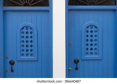 Twin blue doors. Medina, Asilah, Morocco