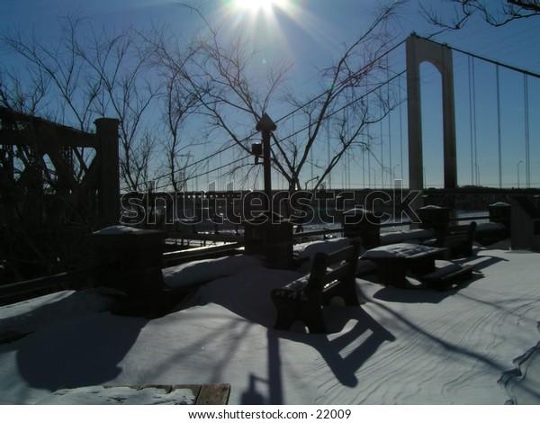 twin bridge of quebec city in winter