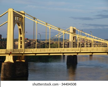 Twin bridges in late afternoon light.  Pittsburgh Pennsylvania.