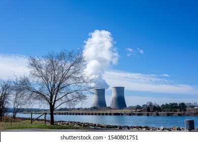 Twin cooling towers of the Watts Bar Nuclear Facility on the Tennessee River near Spring City, Tennessee