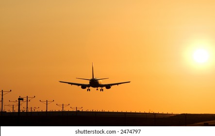 Twin engine passenger jet coming in for a landing
