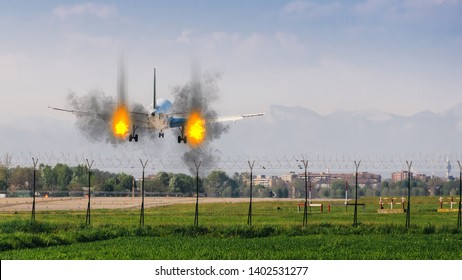 Twin engines on fire emergency landing concept at airport with copy space