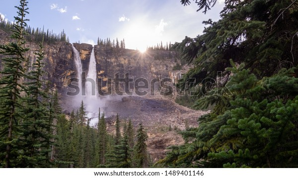 Twin Falls Chalet, Yoho national park, Canada. view during summer on a sunny day