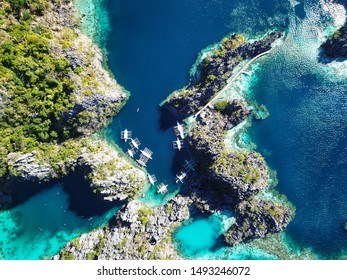Twin lagoon taken by a drone in Coron, Philippines