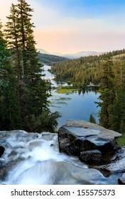 Twin lakes waterfall at sunrise near Mammoth Lakes, California