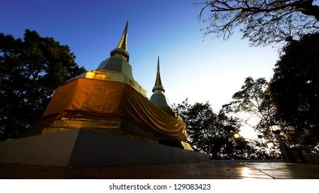 Twin Pagoda at Wat Phra That Doi Tung, Chiang Rai, Thailand.