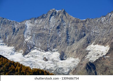 The twin peaks of Dom of the Mischabel Group in the Southern Swiss Alps above Saas Fee