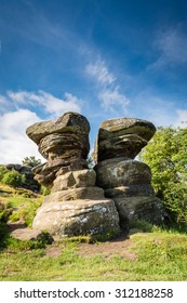 Twin Rocks at Brimham / Brimham Rocks on Brimham Moor in North Yorkshire are weathered sandstone, known as Millstone Grit,creating some dramatic shapes, many of which have been named