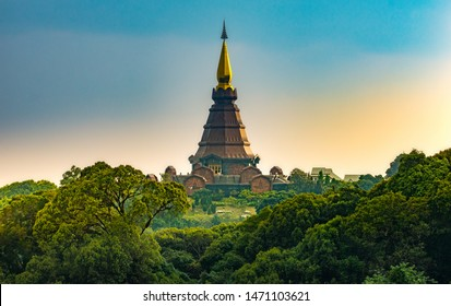 The Twin Royal Stupas dedicated to His Majesty The King and Queen of Thailand at sunset in Doi Inthanon National Park near Chiang Mai Thailand. Phra Maha Dhatu Nabha Metaneedol and Nabhapol Bhumisiri
