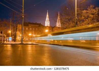 Twin spired church on Dom square  at twilight blue hour (The votive cathedral of our lady) - Szeged, Hungary