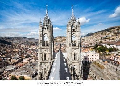 Twin steeples of the Basilica del Voto Nacional in Quito, Ecuador