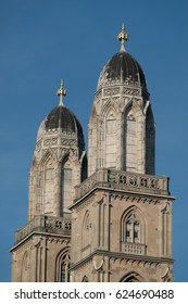 "The twin towers of the The Grossmünster (""great minster""), a Romanesque-style Protestant church in Zurich, Switzerland, and one of its most recognizable symbols."