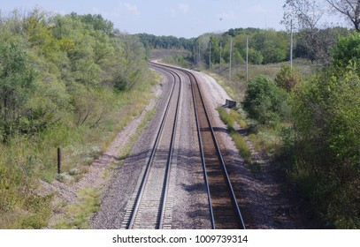 Twin track railroad main line