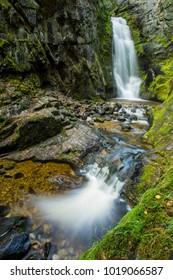 Twin waterfalls on Tulip Creek in the Kootenays of British Columbia, Canada.