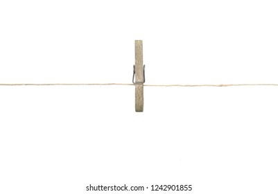 Twine and clothespin on white background
