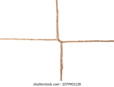 twine cross knot texture isolated on white background, macro photo