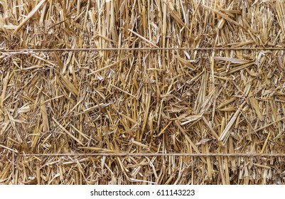 Twine-wrapped hay bale background