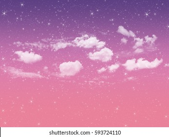 Twinkle star,Purple and pink sky sunrise background