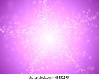 twinkling glitter in shades of pink, white and blue forming a star in front of a purple background (3D illustration)