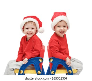 twins childs in Santa Claus