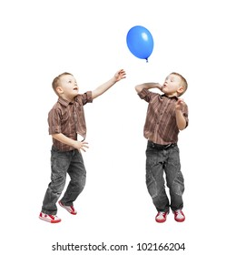 A twins conquering the balloon. They jump, they are very busy.
