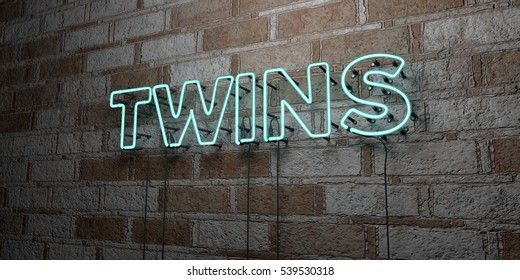 TWINS - Glowing Neon Sign on stonework wall - 3D rendered royalty free stock illustration.  Can be used for online banner ads and direct mailers.