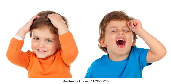 Twins laughing isolated on a white background