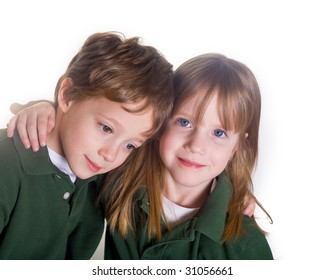 Twins on a white background