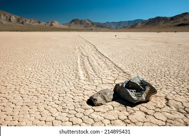 """The """"twins"""" at Racetrack Playa at Death Valley - close-up shot of the moving rocks"""