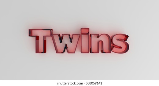 Twins - Red glass text on white background - 3D rendered royalty free stock image.