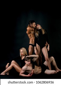 Twins women with athlete men. Family trust, polygamy, betrayal, swinger. Couple in love. Love and romance. Erotic games, sexy women, beauty, fashion. Men with muscular body and twins, relations.