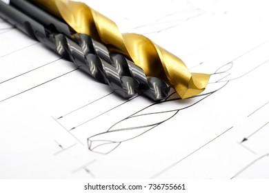 Twist Drill bit. Professional cutting tools used for metalwork. Multi-flute drill, broach bit, hand reamer, milling cutter