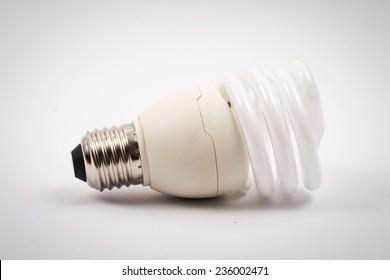 twist light bulb on white background