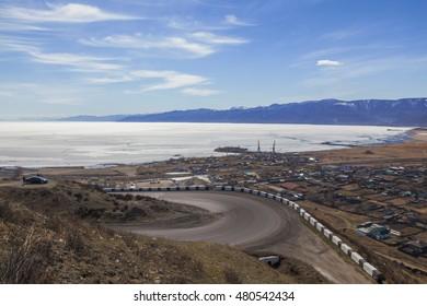 Twist road near Lake Baikal in the town of Slyudyanka