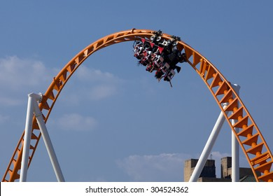 Twist and turns of a modern steel roller coaster.