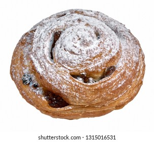 Twisted bun with raisins sprinkled with powdered sugar bagel with poppy seeds isolated on white