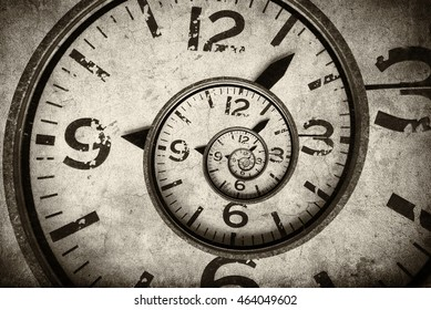 Twisted clock face close up. infinite time concept