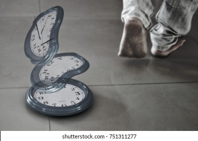 Twisted clock and needle floating in the air. With feet walking away. It shows the time of leaving.