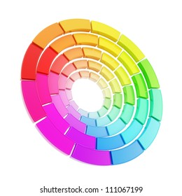 Twisted color range spectrum round circle palette isolated on white background
