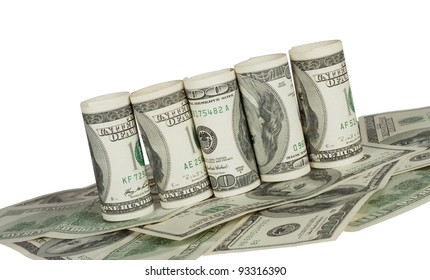 Twisted hundred dollar bill on the carpet of notes on a white background
