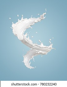 twisted milk splash isolated on background, liquid  or Yogurt splash, Include clipping path. 3d illustration.