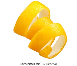 Twisted orange peel stripe or zest decoration isolated on white, top view